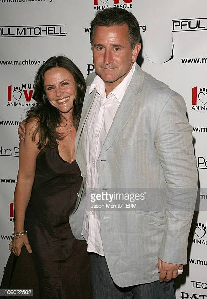 Anthony LaPaglia and wife Gia Carides during Bow Wow Ciao Benefit For Much Love Animal Rescue Arrivals at John Paul DeJoria and Eloise DeJoria Estate...