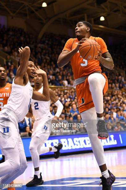 Anthony Lawrence II of the Miami Hurricanes against the Duke Blue Devils during their game at Cameron Indoor Stadium on March 02 2019 in Durham North...