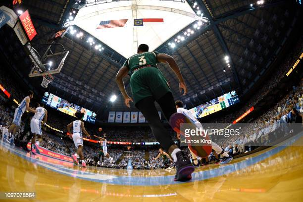Anthony Lawrence II of the Miami Hurricanes in action against the North Carolina Tar Heels at Dean Smith Center on February 9 2019 in Chapel Hill...