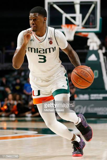 Anthony Lawrence II of the Miami Hurricanes in action against the Clemson Tigers at the Watsco Center on February 13 2019 in Miami Florida