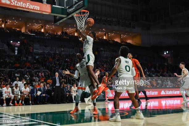 Anthony Lawrence II of the Miami Hurricanes in action against the Virginia Tech Hokies at Watsco Center on January 30 2019 in Miami Florida