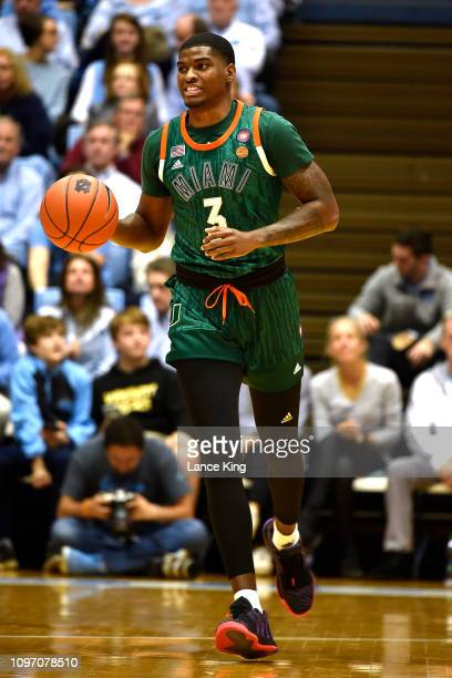 Anthony Lawrence II of the Miami Hurricanes moves the ball against the North Carolina Tar Heels at Dean Smith Center on February 9 2019 in Chapel...