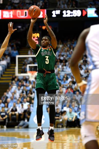 Anthony Lawrence II of the Miami Hurricanes puts up a shot against the North Carolina Tar Heels at Dean Smith Center on February 9 2019 in Chapel...