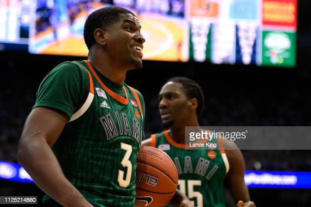 Anthony Lawrence II of the Miami Hurricanes reacts against the North Carolina Tar Heels at Dean Smith Center on February 9 2019 in Chapel Hill North...