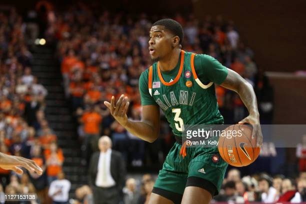 Anthony Lawrence II of the Miami Hurricanes sets up a play in the first half during a game against the the Virginia Cavaliers at John Paul Jones...
