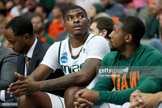 Anthony Lawrence II of the Miami Hurricanes sits on the bench after fouling out in the second half while taking on the Loyola Ramblers in the first...