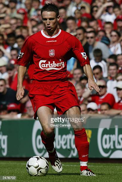 Anthony Le Tallec of Liverpool with the ball at his feet during the friendly match between Liverpool and Valencia on August 9, 2003 at The Anfield...