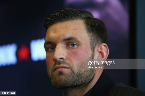 Anthony Leak faces the media during a boxing press conference at City Academy on February 15 2017 in Manchester England