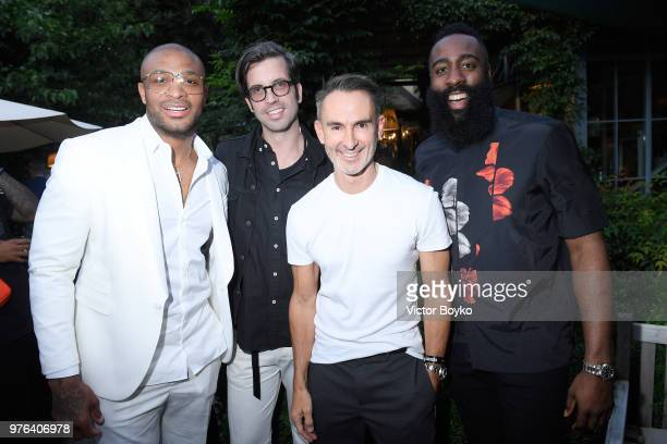 Anthony Leon P J Tucker Will Welch Neil Barrett and James Harden attend the GQ Milan Cocktail Party during Milan Men's Fashion Week Spring/Summer...