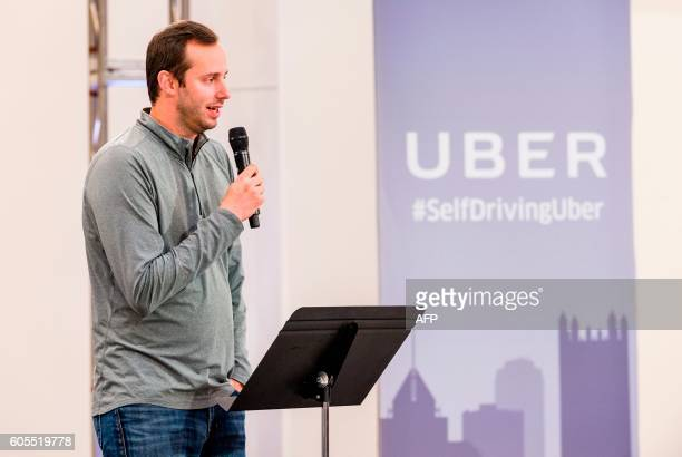 Anthony Levandowski Otto Cofounder and VP of Engineering at Uber speaks to members of the press during the launch of the pilot model of the Uber...