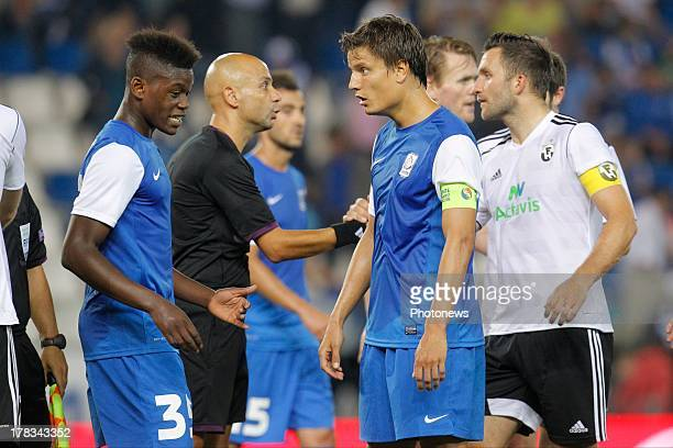 Anthony Limbombe Ekango of KRC Genk and Jelle Vossen of KRC Genk pictured after the second leg playoff UEFA Europa League match between KRC Genk and...