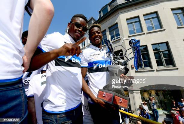 Anthony Limbombe forward Abdoulay Diaby forward of Club Brugge celebrating the winning of the Jupiler Pro League title 2017 2018 during a city parade...