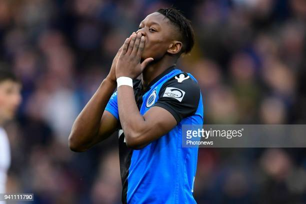 Anthony Limbombe forward of Club Brugge looks dejected after missing an opportunity during the Jupiler Pro League playoff 1 match between Club Brugge...