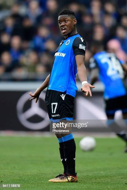 Anthony Limbombe forward of Club Brugge reacts during the Jupiler Pro League playoff 1 match between Club Brugge and KRC Genk at the Jan Breydel...