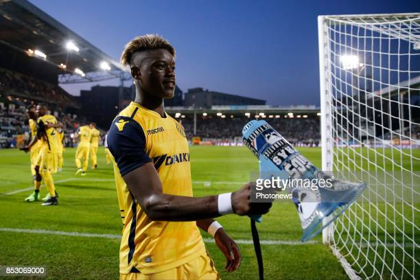 Anthony Limbombe forward of Club Brugge scores and celebrates pictured during the Jupiler Pro League match between Sporting Charleroi and Club Brugge...