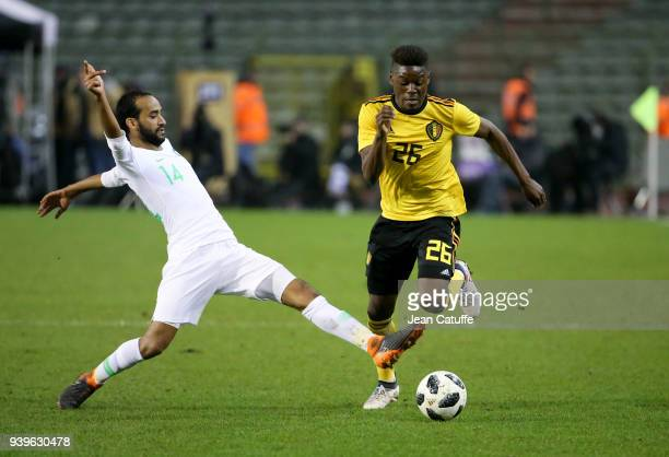 Anthony Limbombe of Belgium Abdullah Otayf of Saudi Arabia during the international friendly match between Belgium and Saudi Arabia on March 27 2018...