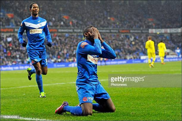 Anthony Limbombe of KRC Genk celebrates scoring a goal with teammates during the Jupiler League match between KRC Genk and Club Brugge KV on February...