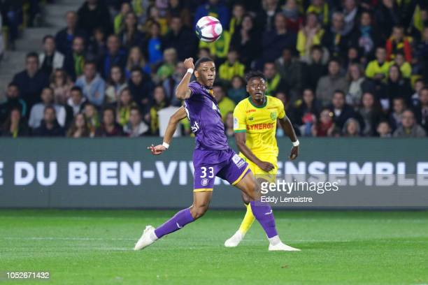 Anthony Limbombe of Nantes and Jean Clair Tobido of Toulouse during the Ligue 1 match between FC Nantes and Toulouse FC at Stade de la Beaujoire on...
