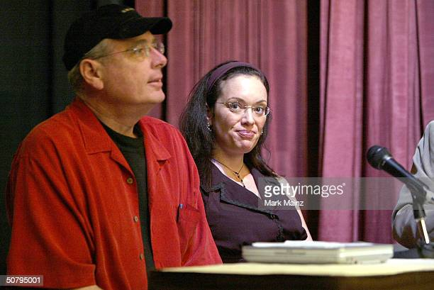 Anthony Loder and filmmaker Gretchen Somerfeld speak at the 'Fatale Weapon The Unsung Legacy Of Hedy Lamarr' reception during the 2004 Tribeca Film...