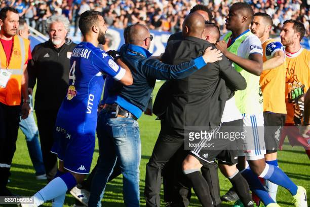 Anthony Lopes of Lyon altercation with supporters during the Ligue 1 match between SC Bastia and Olympique Lyonnais Lyon at Stade Armand Cesari on...