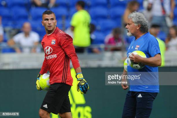 Anthony Lopes of Lyon and Joel Bats of Lyon during the Ligue 1 match between Olympique Lyonnais and Strasbourg at Parc Olympique on August 5 2017 in...