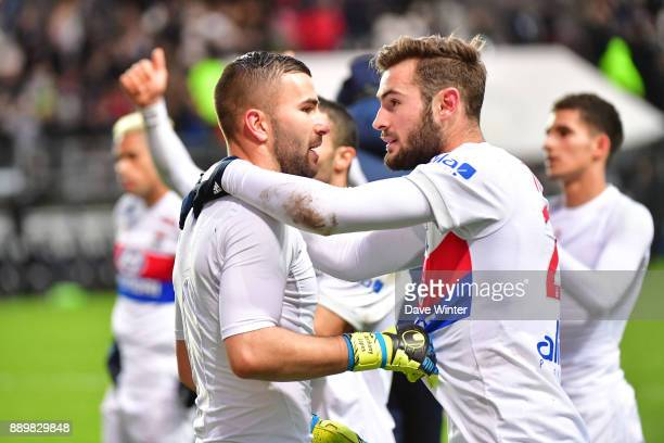 Anthony Lopes of Lyon and Lucas Tousart of Lyon following the Ligue 1 match between Amiens SC and Olympique Lyonnais at Stade de la Licorne on...