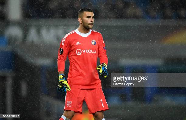 Anthony Lopes of Lyon during the UEFA Europa League group E match between Everton FC and Olympique Lyon at Goodison Park on October 19 2017 in...