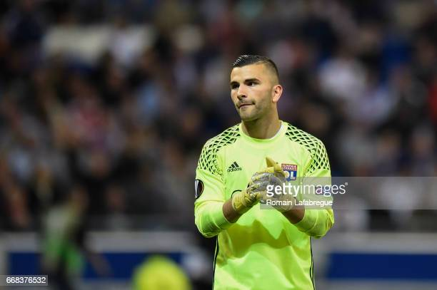 Anthony Lopes of Lyon during the Uefa Europa League quarter final first leg match between Olympique Lyonnais Lyon and Besiktas at Stade des Lumieres...