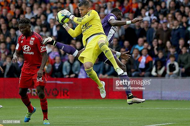 Anthony Lopes of Lyon in action during the French Ligue 1 match between Toulouse and Lyon at Stadium Municipal on April 23 2016 in Toulouse France