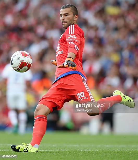 Anthony Lopes of Lyon kicks the ball upfield during the Emirates Cup match between Arsenal and Olympique Lyonnais at the Emirates Stadium on July 25...