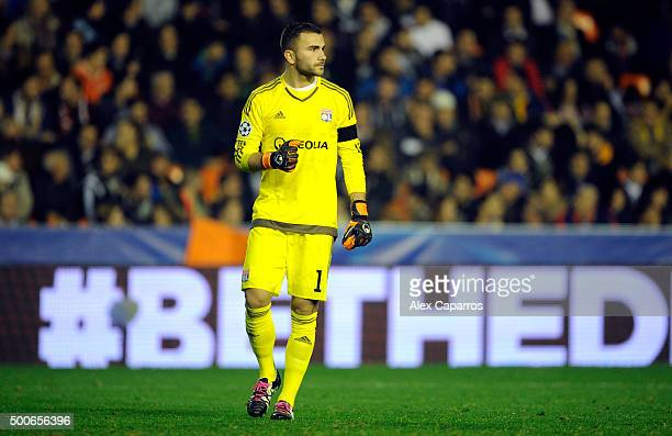 Anthony Lopes of Lyon reacts during the UEFA Champions League Group H match between Valencia CF and Olympique Lyonnais at Estadio Mestalla on...