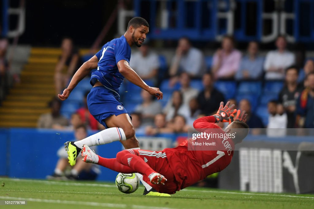 Anthony Lopes of Lyon saves a shot from Ruben Loftus-Cheek of Chelsea during the pre-season friendly match between Chelsea and Lyon at Stamford Bridge on August 7, 2018 in London, England.