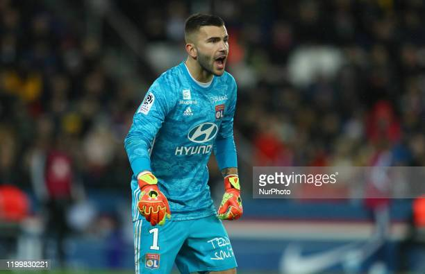 Anthony Lopes of OL during the football Ligue 1 Conforama match Paris Saint-Germain v Olympique Lyonnais at the Parc des Princes in Paris, France on...