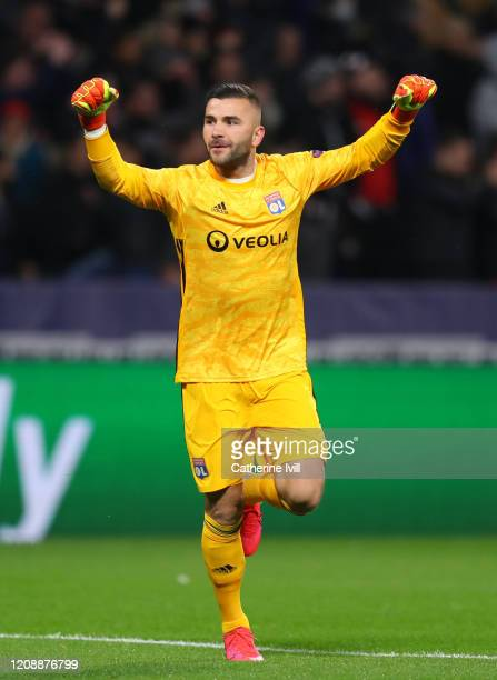 Anthony Lopes of Olympique Lyon celebrates his sides first goal during the UEFA Champions League round of 16 first leg match between Olympique Lyon...