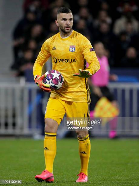 Anthony Lopes of Olympique Lyon during the UEFA Champions League match between Olympique Lyon v Juventus at the Parc Olympique Lyonnais on February...