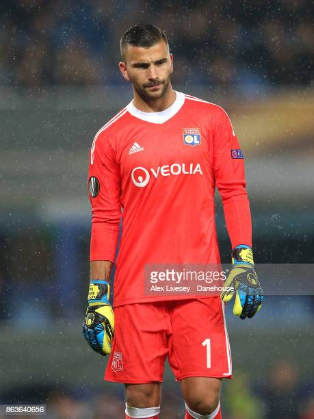Anthony Lopes of Olympique Lyon looks on during the UEFA Europa League group E match between Everton FC and Olympique Lyon at Goodison Park on...