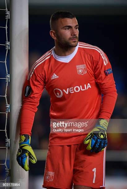 Anthony Lopes of Olympique Lyon looks on during UEFA Europa League Round of 32 match between Villarreal and Olympique Lyon at the Estadio de la...
