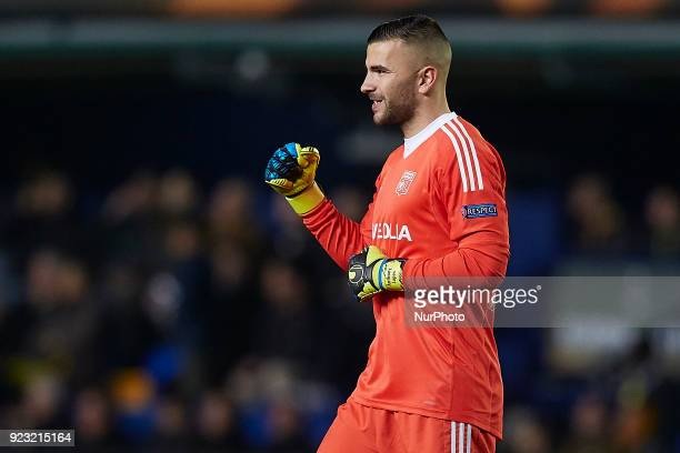 Anthony Lopes of Olympique Lyonnais celebrates a goal during the UEFA Europa League round of 32 second leg match between Villarreal CF and Olympique...