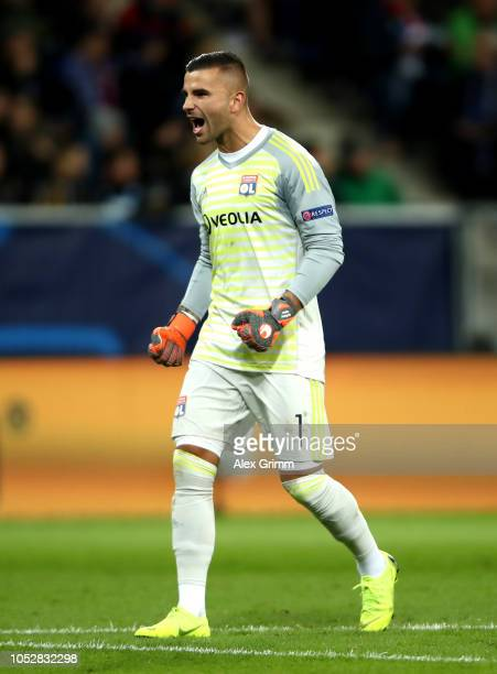 Anthony Lopes of Olympique Lyonnais celebrates after Bertrand Traore of Olympique Lyonnais scores his team's first goal during the Group F match of...