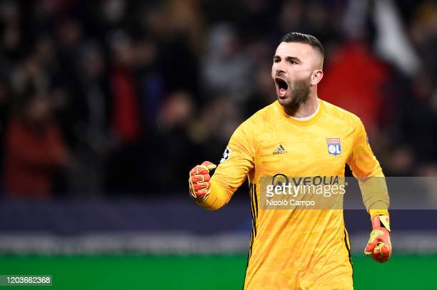 Anthony Lopes of Olympique Lyonnais celebrates during the UEFA Champions League round of 16 first leg football match between Olympique Lyonnais and...