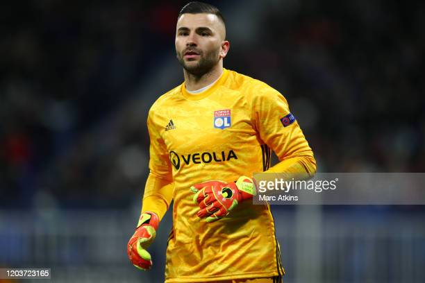 Anthony Lopes of Olympique Lyonnais during the UEFA Champions League round of 16 first leg match between Olympique Lyonnais and Juventus at Parc...