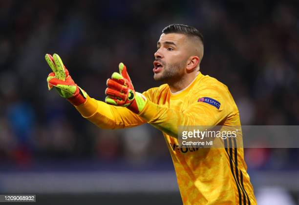 Anthony Lopes of Olympique Lyonnais during the UEFA Champions League round of 16 first leg match between Olympique Lyon and Juventus at Parc...