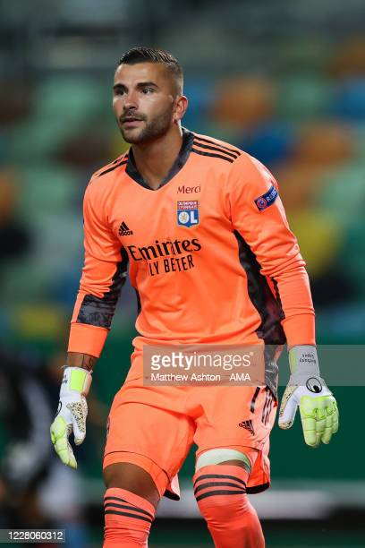 Anthony Lopes of Olympique Lyonnais during the UEFA Champions League Quarter Final match between Manchester City and Lyon at Estadio Jose Alvalade on...