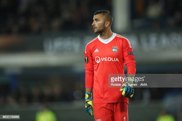 Anthony Lopes of Olympique Lyonnais during the UEFA Europa League group E match between Everton FC and Olympique Lyon at Goodison Park on October 19...