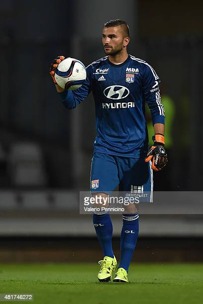 Anthony Lopes of Olympique Lyonnais in action during the preseason friendly match between Olympique Lyonnais and AC MIlan at Gerland Stadium on July...