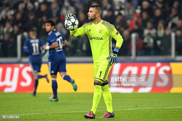 Anthony Lopes of Olympique Lyonnais in action during the UEFA Champions League Group H match between Juventus and Olympique Lyonnais at Juventus...