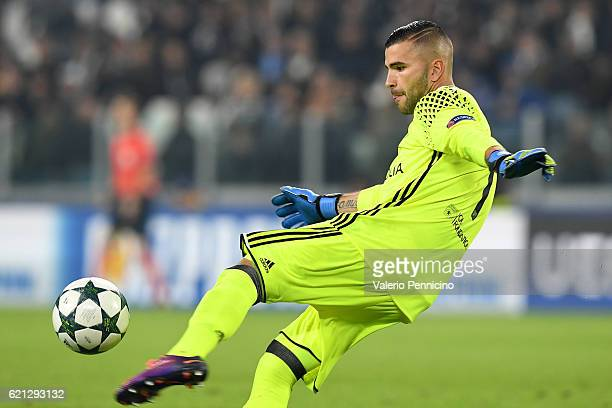 Anthony Lopes of Olympique Lyonnais kicks the ball during the UEFA Champions League Group H match between Juventus and Olympique Lyonnais at Juventus...