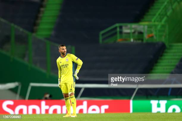 Anthony Lopes of Olympique Lyonnais looks dejected following his sides defeat in the UEFA Champions League Semi Final match between Olympique...