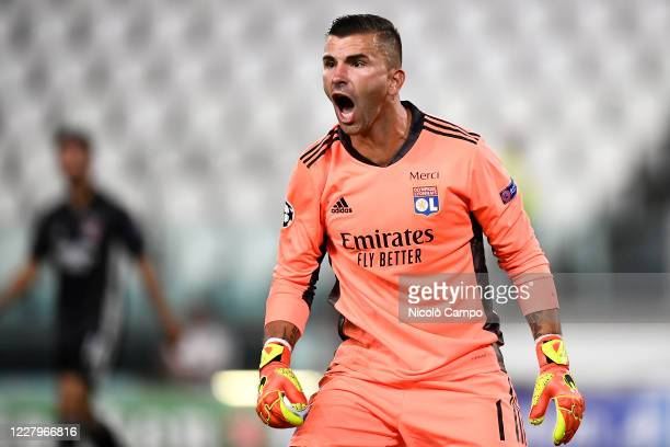 Anthony Lopes of Olympique Lyonnais reacts during the UEFA Champions League round of 16 second leg football match between Juventus FC and Olympique...