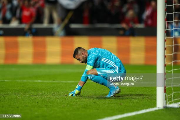 Anthony Lopes of Olympique Lyonnais reacts to SL Benfica second goal scored Pizzi of SL Benfica during the UEFA Champions League group G match...